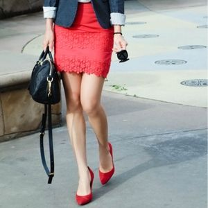J. Crew Red Daisy Lace Mini Skirt